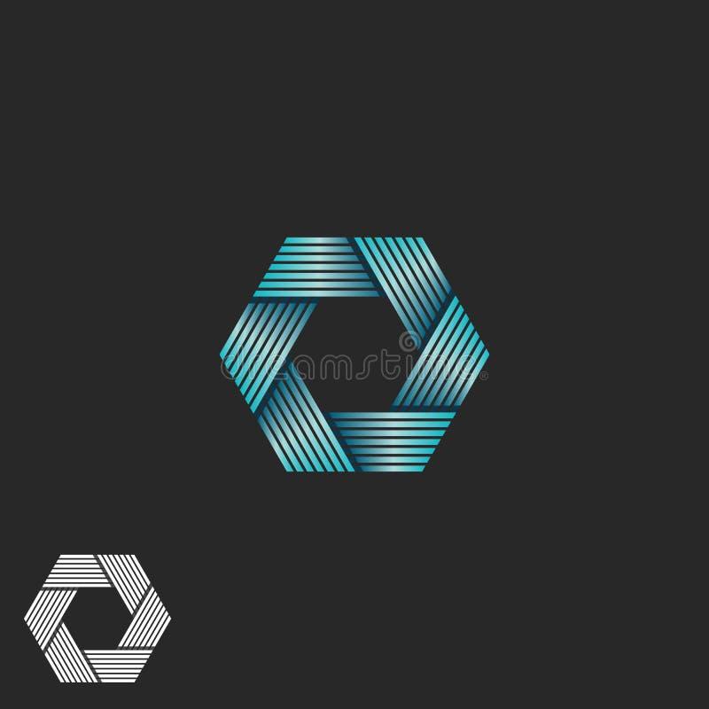 Hexagon Shape Letter S Logo Linear Angular Symbol, Modern