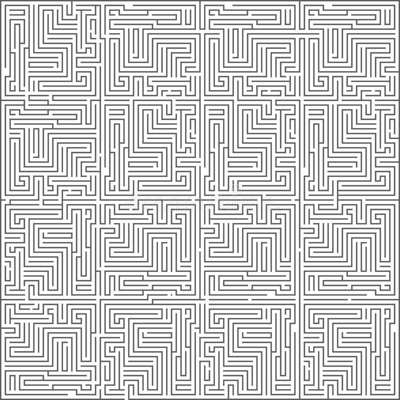 Abstract intricacy labyrinth maze monochromatic geometric background design template vector illustration stock illustration