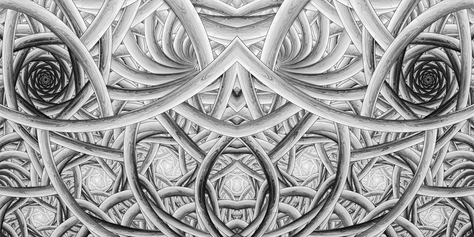 Abstract intricate monochrome ornament on black background. stock images