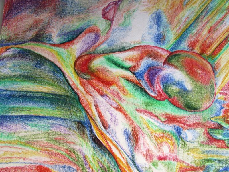 Abstract iridescent multi-colored motley bright pattern with shapes and stripes of colored pencils stock images