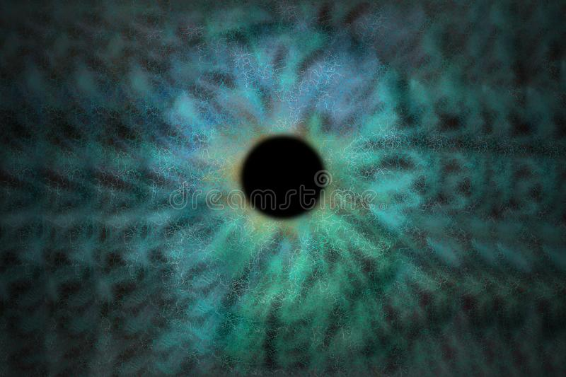 Iris Background - Galaxy Cosmos Style, Universe Astronomic Wallpaper with blue turquoise stardust royalty free illustration