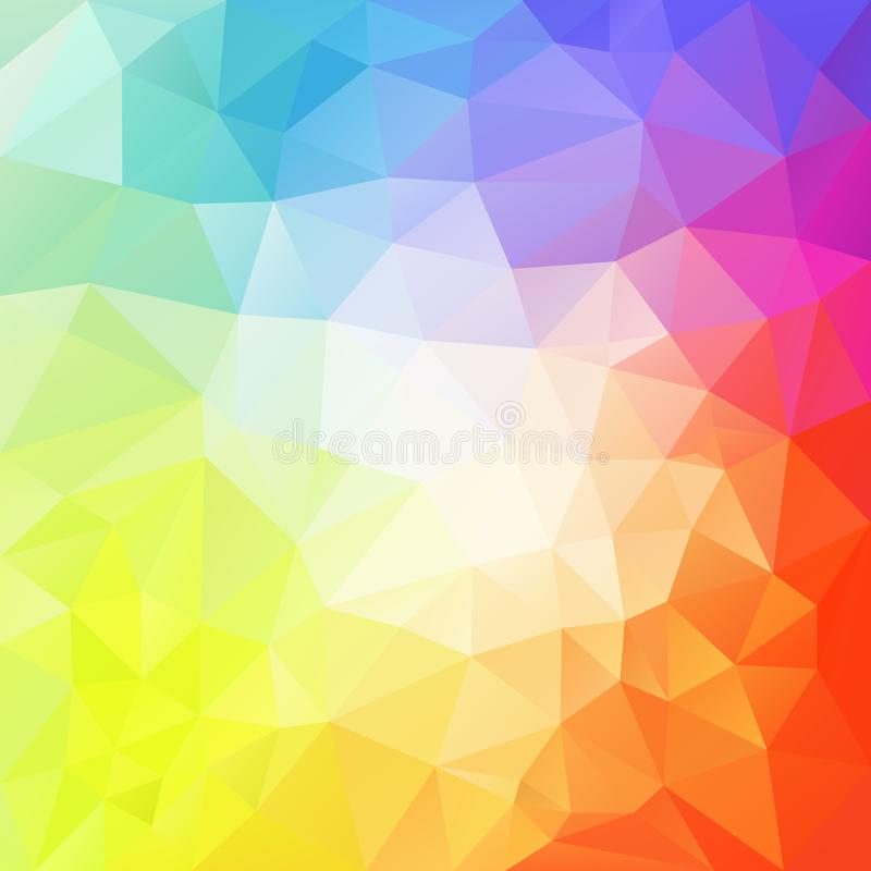 Abstract irregular polygon background with a triangle pattern in light pastel full color spectrum with reflection in the mi stock illustration