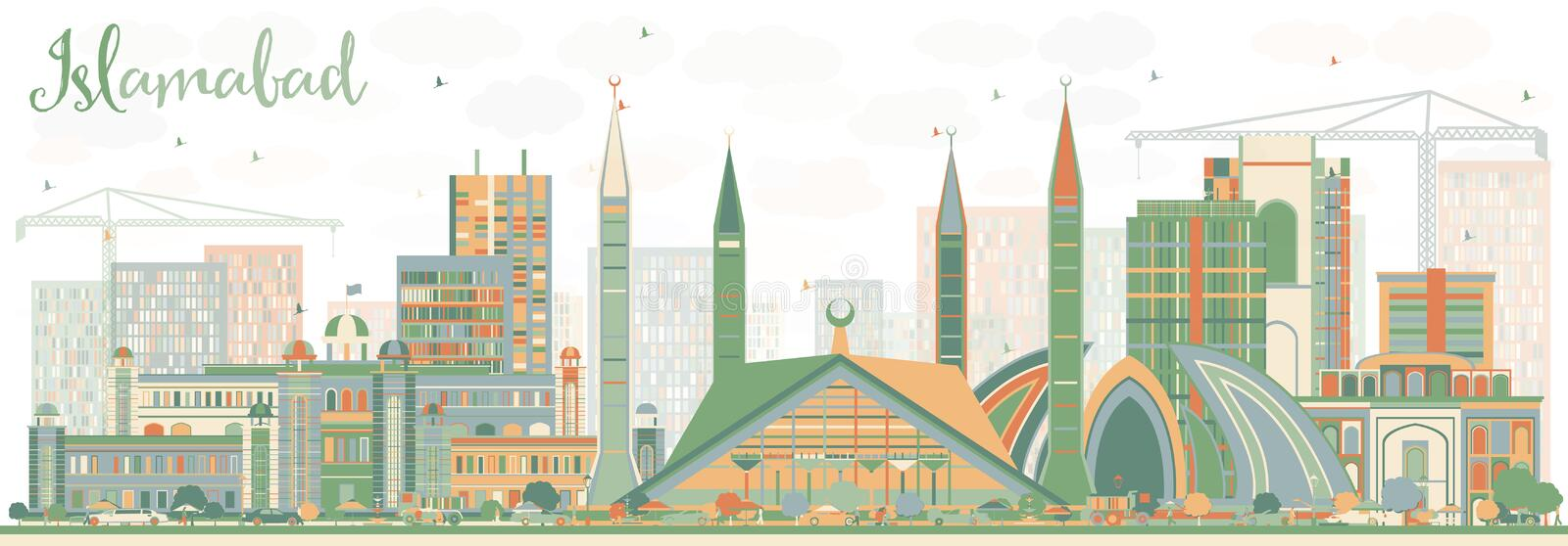 Abstract Islamabad Skyline with Color Buildings. Vector Illustration. Business Travel and Tourism Concept with Historic Architecture. Image for Presentation vector illustration