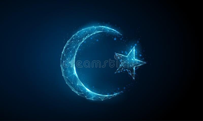 Abstract islamitisch Ramadan-symbool: crescent en ster royalty-vrije illustratie