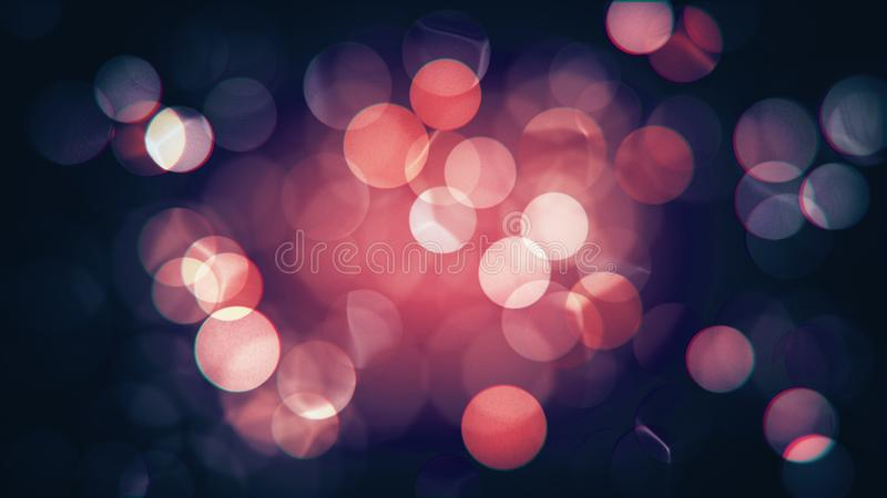 Abstract isolated blurred festive red and pink Christmas lights with bokeh stock images