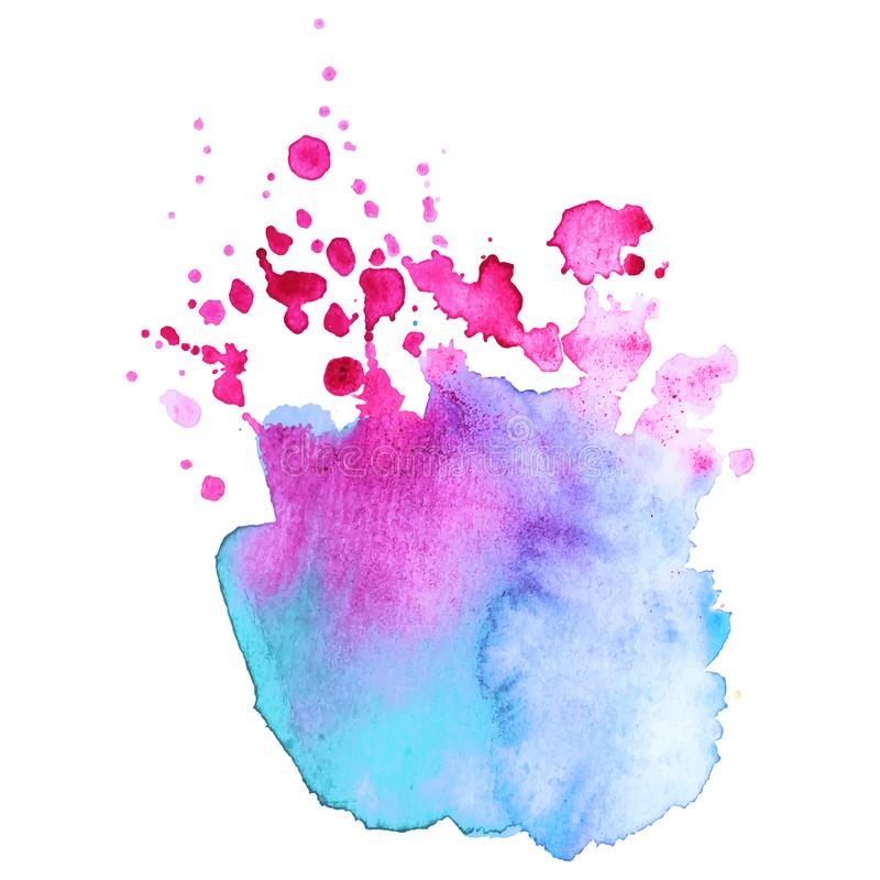 Abstract isolated colorful vector watercolor splash. Grunge element for paper design. Vector illustration stock images