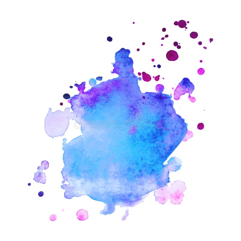 Abstract isolated colorful vector watercolor splash. Grunge element for paper design. Vector illustration stock image