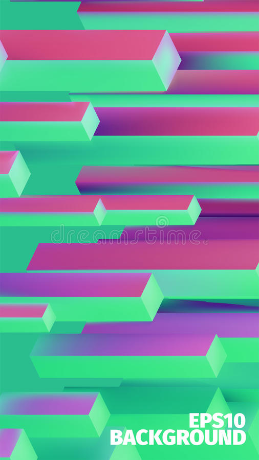Abstract isometric boxes 3d background. Vector cubes pattern. Bright illustration royalty free illustration