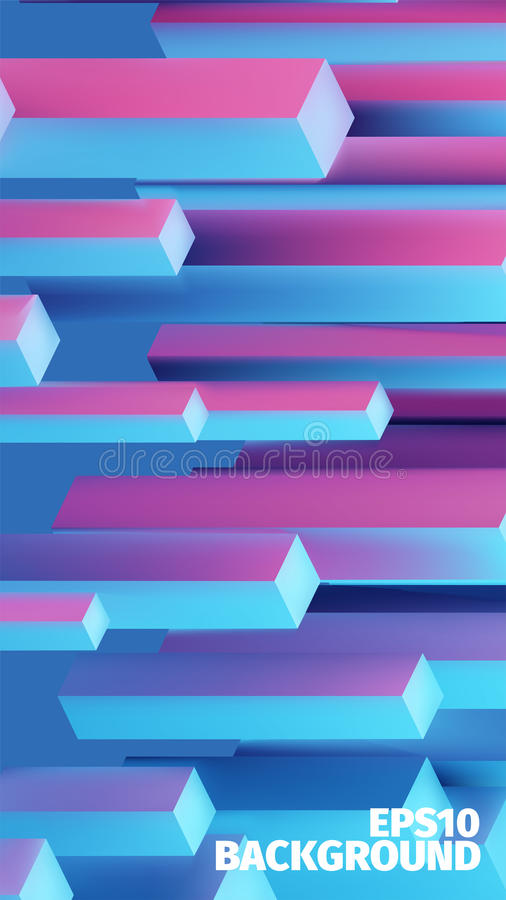 Abstract isometric boxes 3d background. Vector cubes pattern. Contrast illustration royalty free illustration