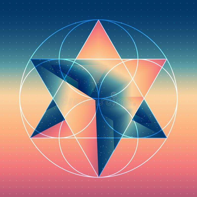 Abstract isometrisch prisma met de bezinning stock illustratie