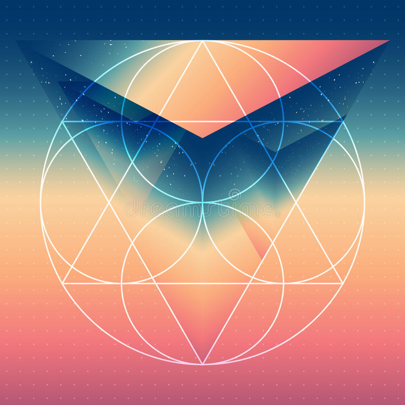 Abstract isometrisch prisma met de weerspiegeling van de ruimte royalty-vrije illustratie