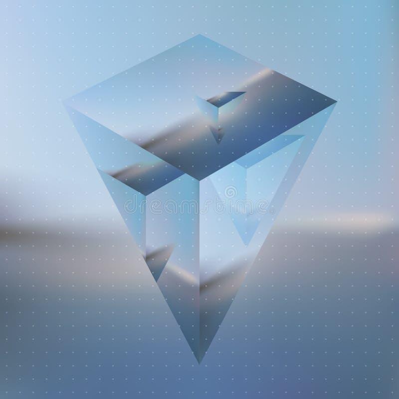 Abstract isometrisch prisma met de weerspiegeling van het milieu stock illustratie