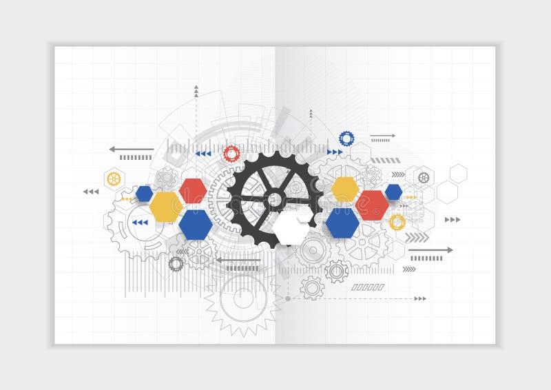 Abstract jaarverslagmalplaatje als achtergrond, geometrische van het bedrijfs driehoeksontwerp brochuredekking royalty-vrije illustratie