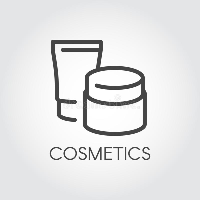 Abstract jars for lotion, cream and other care products for facial or body thin line icon. Template beauty cosmetic logo royalty free illustration