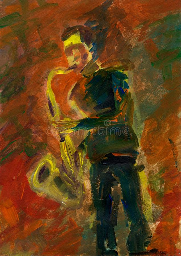 Saxophonist solo concert. Jazzman on stage. stock photography