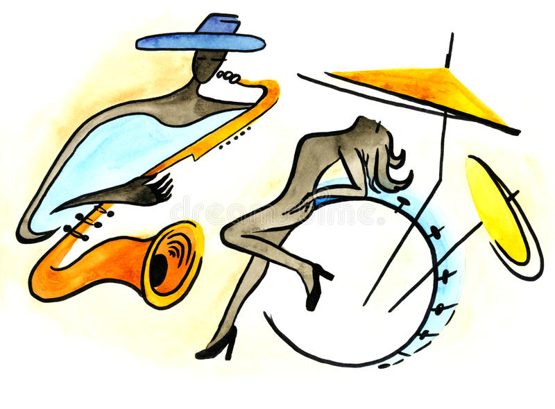 Abstract jazz saxophonist and naked drummer royalty free illustration