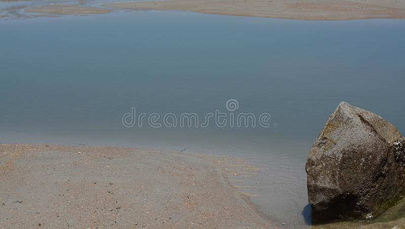 Abstract, Jetty Breakwater on Fernandina Beach, Fort Clinch State Park, Nassau County, Florida USA royalty free stock image