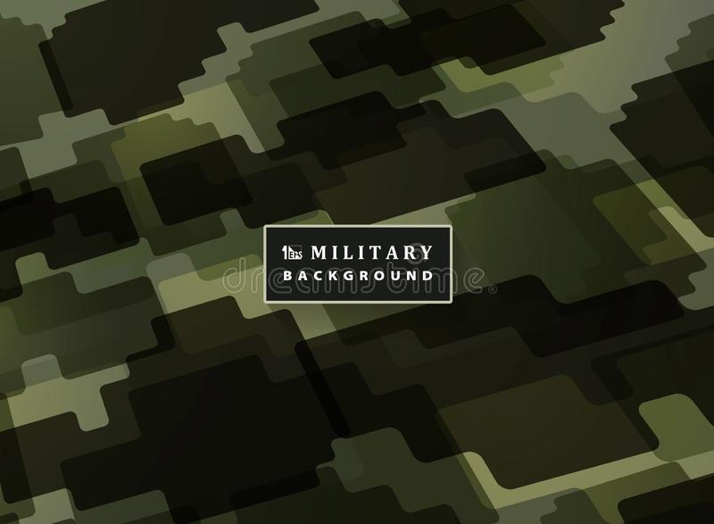 Abstract jigsaw military green color pattern background. Modern decoration of army defender artwork. You can use for cover, ad, stock illustration