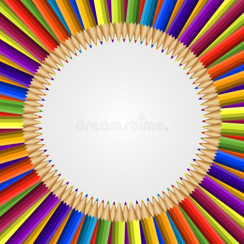 Abstract kader van kleurpotlodenachtergrond royalty-vrije illustratie