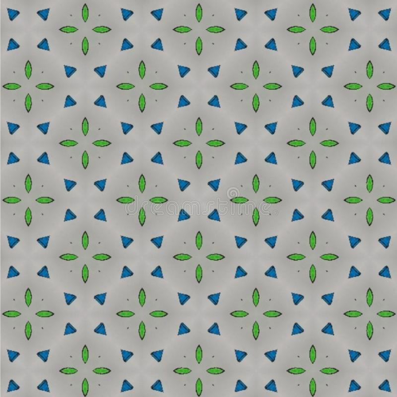 Abstract kaleidoscope design. Blue green white colors. Geometric symmetrical seamless pattern. royalty free illustration