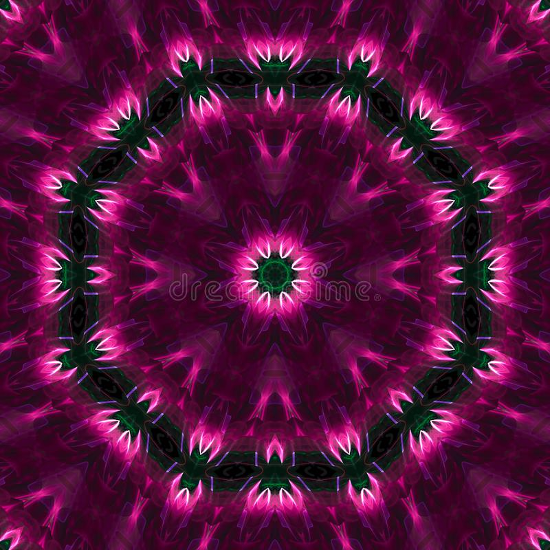 Abstract kaleidoscope effect texture magic mandala decoration style, design symmetrical. Abstract digital kaleidoscope mandala style design energy effect vector illustration