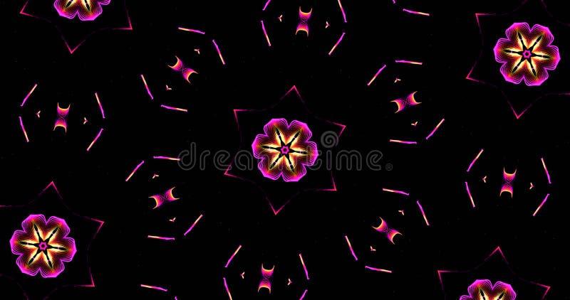 Abstract Kaleidoscope Patterns On Dark Background In Purple Yell stock illustration