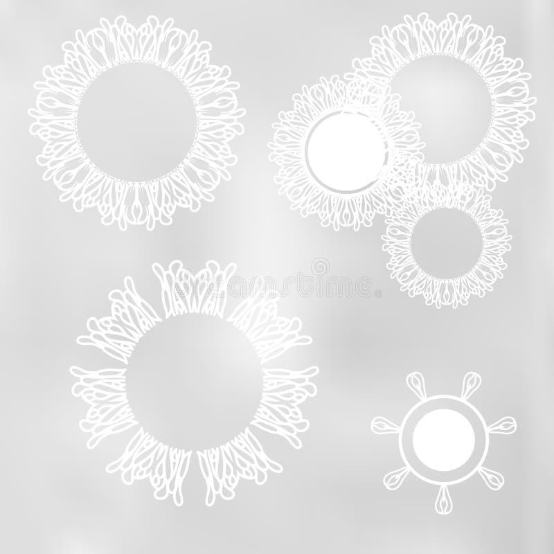 Abstract kant bloemen natuurlijk ornament royalty-vrije illustratie