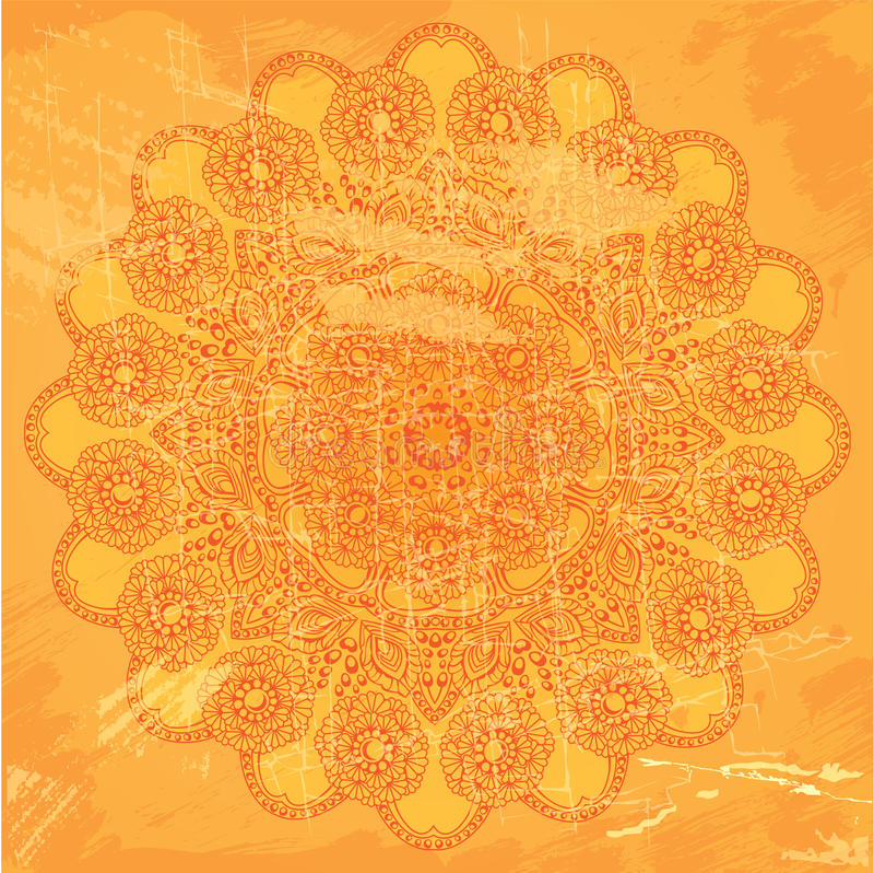 Abstract kantpatroon op oranje grungeachtergrond royalty-vrije illustratie