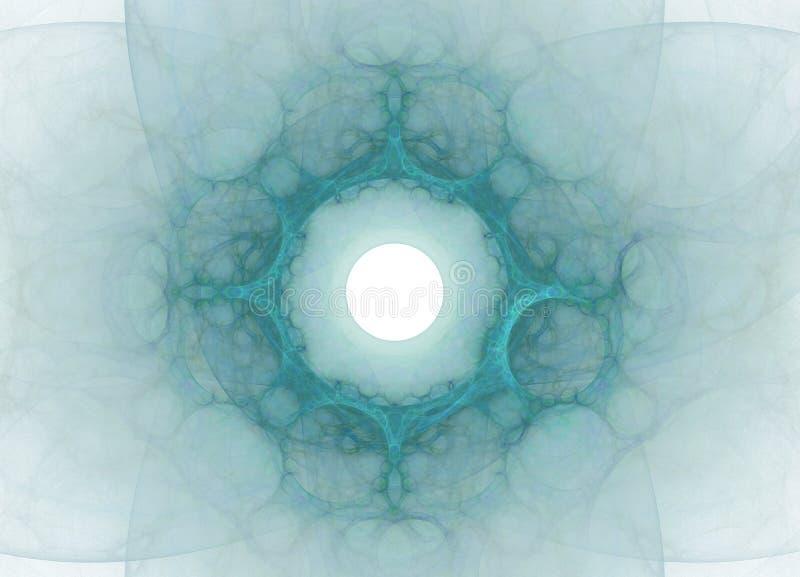 Abstract kleurrijk blauw fractal patroon op witte achtergrond Fantasiefractal textuur Digitaal art het 3d teruggeven Computer gen stock illustratie