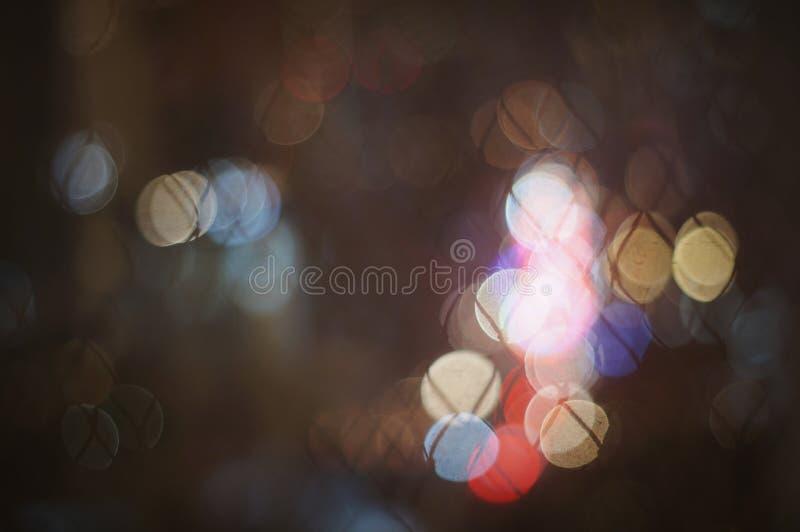 Abstract Kleurrijk cirkel onscherp licht van straatlantaarn voor achtergrond royalty-vrije stock foto