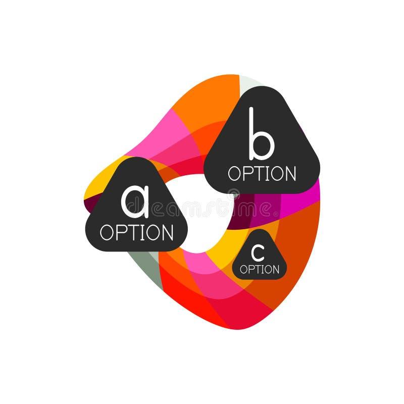 Abstract kleurrijk geometrisch het ontwerpmalplaatje van optieinfographics met steekproef abc opties Abstracte achtergrond voor stock illustratie