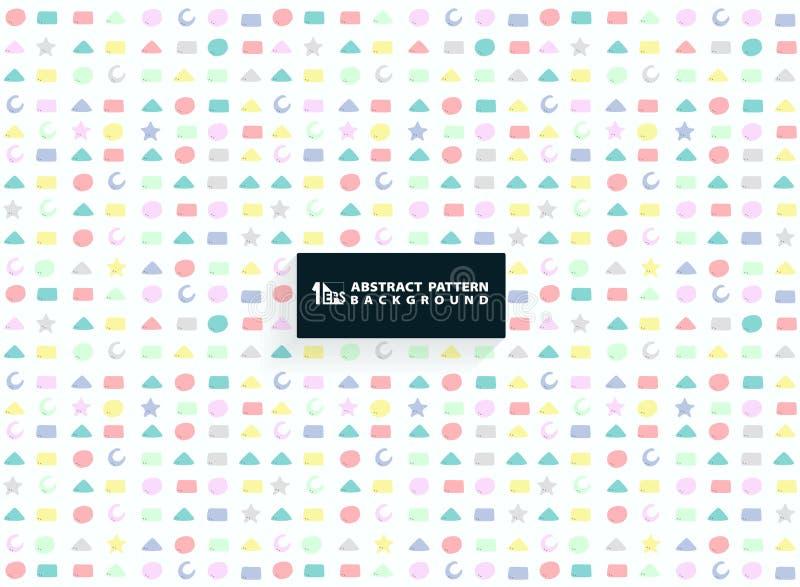 Abstract kleurrijk geometrisch patroon van leuk vormontwerp voor jong geitjeachtergrond U kunt voor document het verpakken, adver stock illustratie
