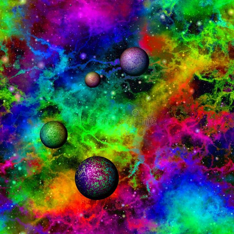Abstract kleurrijk heelal Naadloze vector royalty-vrije illustratie