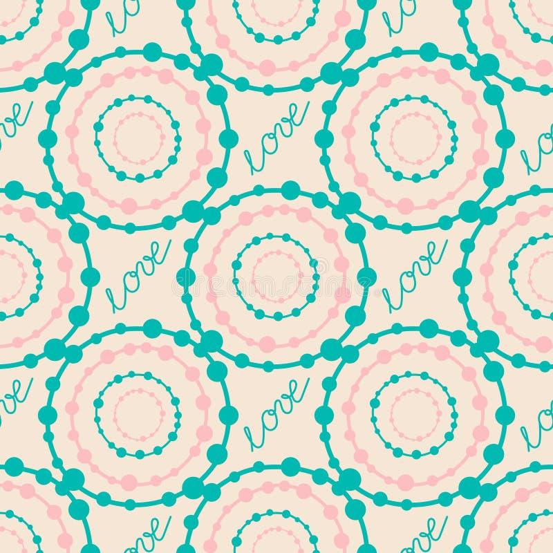 Abstract kleurrijk hipster naadloos patroon met rondes en het van letters voorzien tekenliefde royalty-vrije illustratie