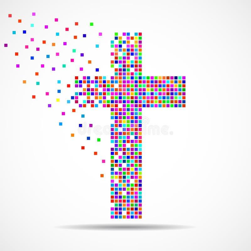 Abstract kleurrijk kruis van pixeles Christelijk Symbool stock illustratie