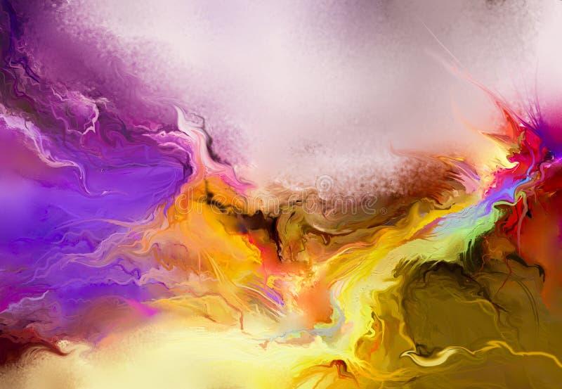 Abstract kleurrijk olieverfschilderij op canvastextuur stock illustratie