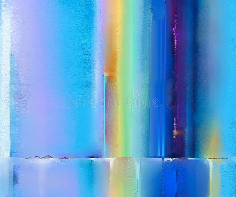 Abstract kleurrijk olieverfschilderij op canvastextuur Semi abstract beeld van de achtergrond van landschapsschilderijen stock afbeeldingen