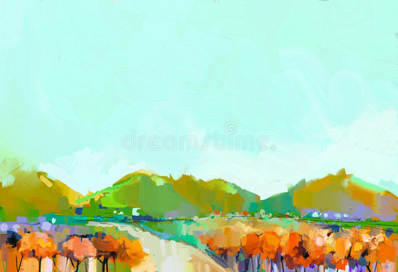 Abstract kleurrijk olieverfschilderijlandschap royalty-vrije illustratie