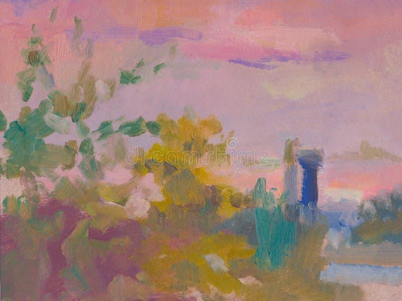 Abstract kleurrijk olieverfschilderijlandschap op canvas Semi abstract beeld van boom en groen gebied met multicolored hemel vector illustratie