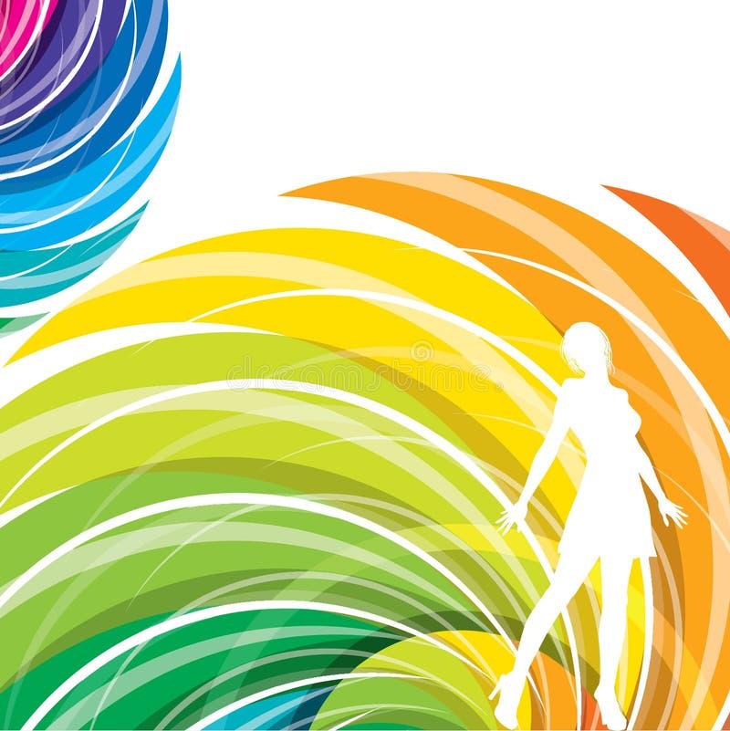 Abstract kleurrijk ontwerp met modieuze vrouw stock illustratie