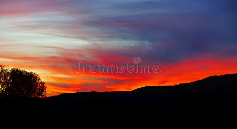 Abstract kleurrijk zonsonderganglandschap met boomsilhouet royalty-vrije stock afbeelding