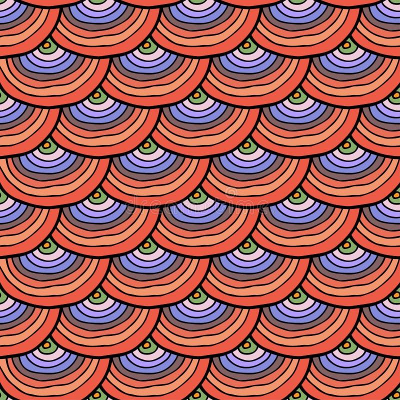 Abstract krabbelhand getrokken kleurrijk naadloos patroon met schaal vector illustratie