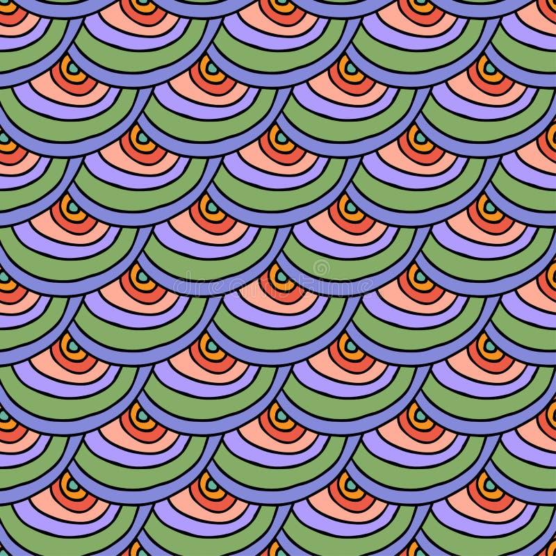 Abstract krabbelhand getrokken kleurrijk naadloos patroon met schaal royalty-vrije illustratie