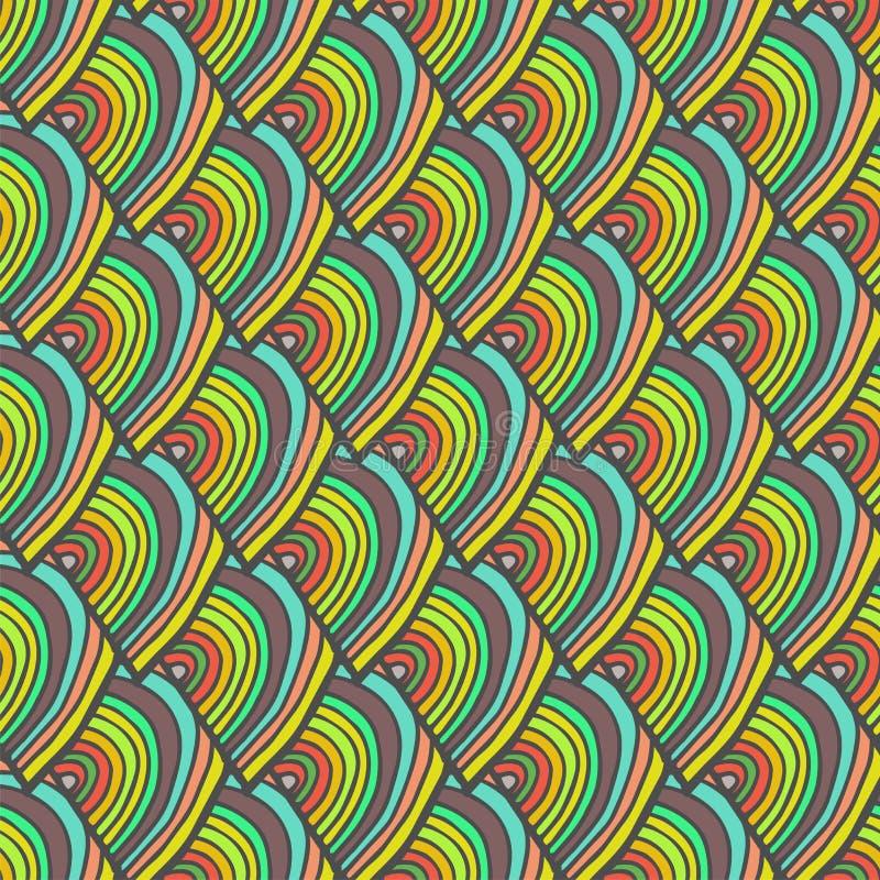 Abstract krabbelhand getrokken kleurrijk naadloos patroon met schaal stock illustratie