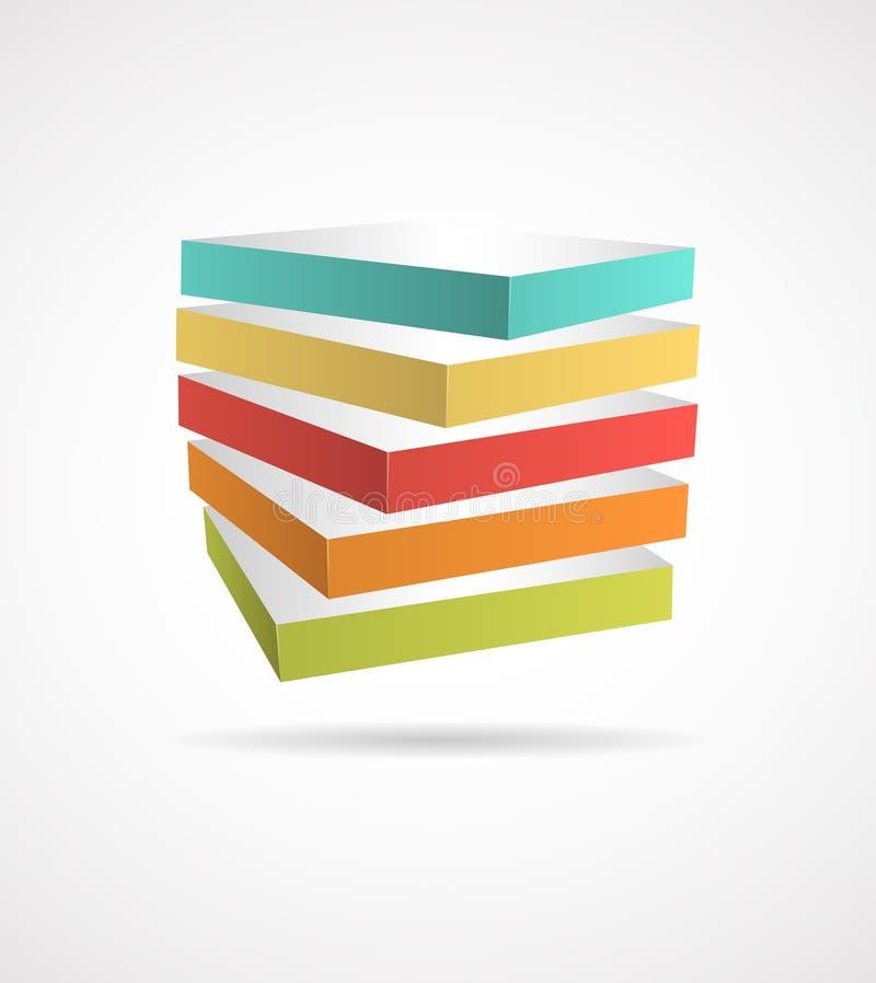 Abstract kubusconceptontwerp royalty-vrije illustratie