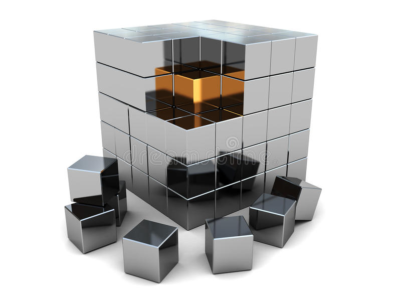 Abstract kubusraadsel royalty-vrije illustratie
