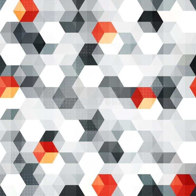 Abstract kubussen naadloos patroon met grungeeffect royalty-vrije illustratie