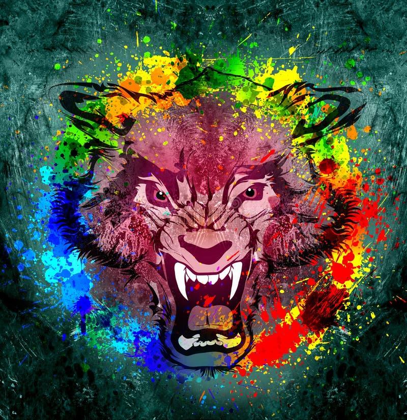 Abstract kunstbeeld met wolf stock illustratie