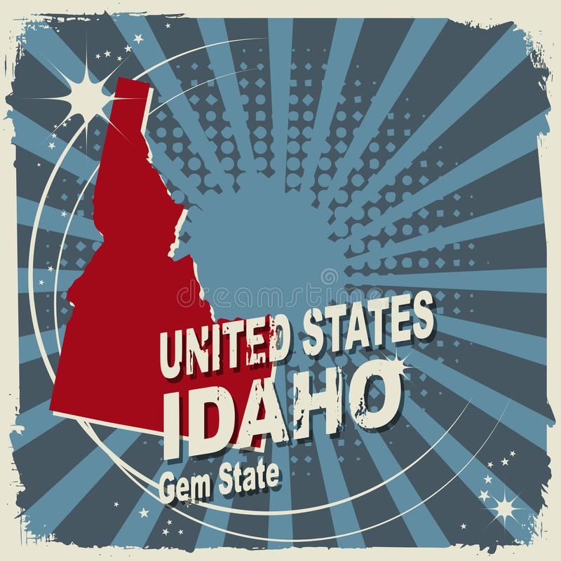 Abstract label with name and map of Idaho vector illustration