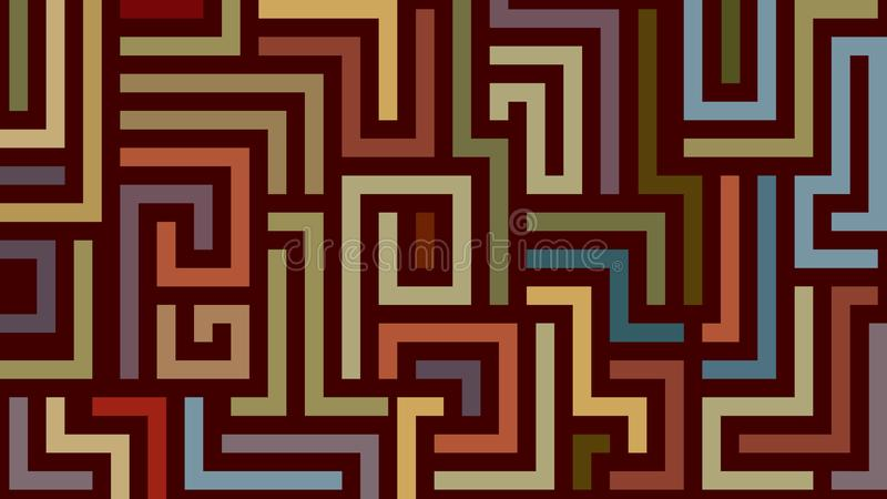 Abstract labyrinth pattern in warm colors vector illustration